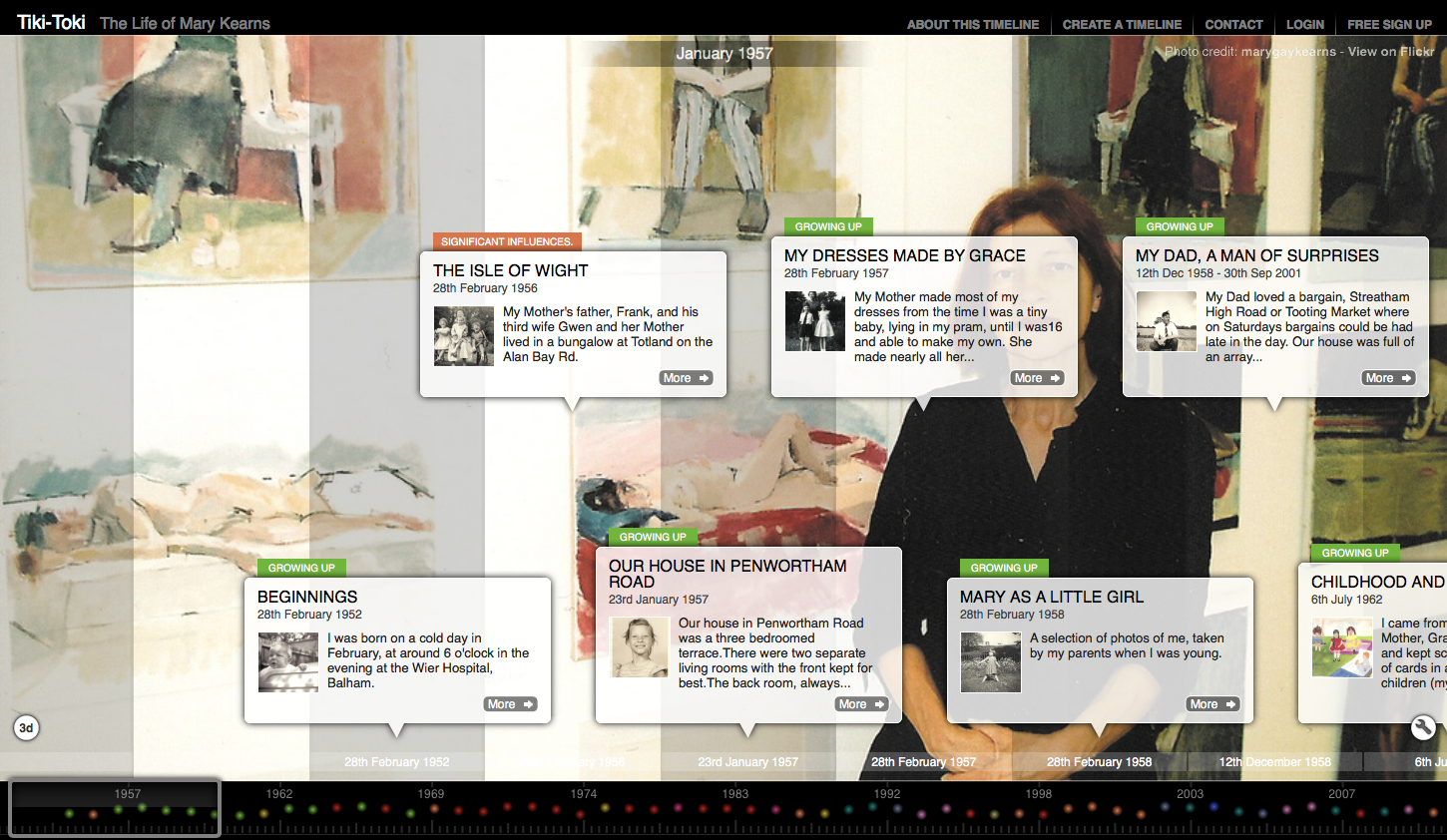 Screenshot of Tiki-Toki timeline. A background image of a woman sitting in front of paintings of people sitting is overlaid with white text blocks arranged in a timeline left to right.