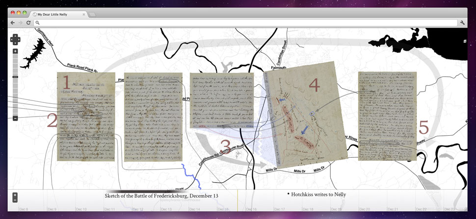 Facsimiles of historic handwritten letters superimposed over a black and white line map.