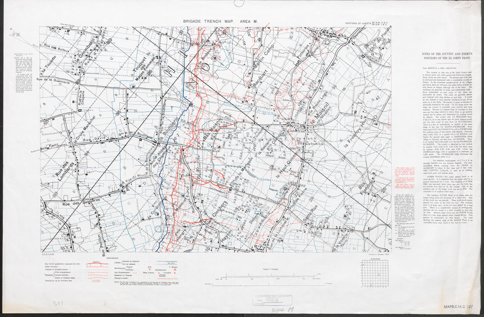 Large scale sectional Brigade Trench Map from 1916