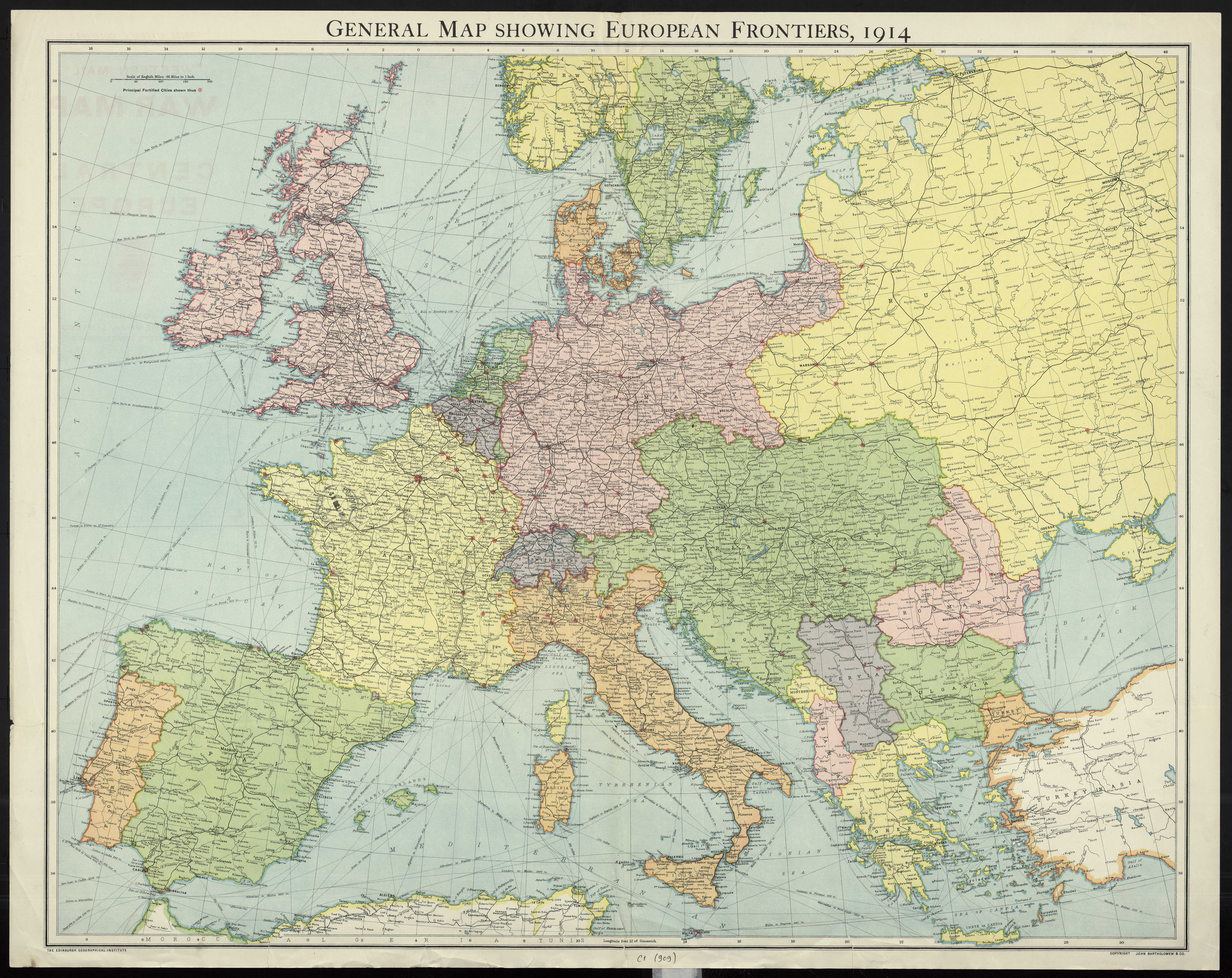 Image of map of European countries in 1914