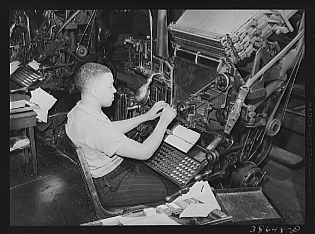 Image of A linotype operator at The Chicago Defender, in 1941