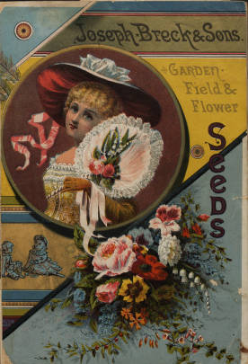 Young woman and flowers on cover of Joseph Breck and Sons Garden Field & Flower seeds catalog