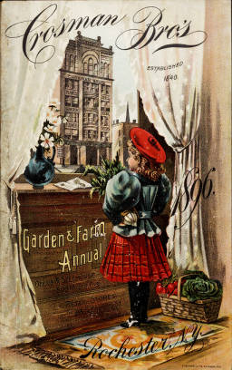 Girl at city window on cover of 1896 Garden and Farm Annual catalog from Crosman Brothers