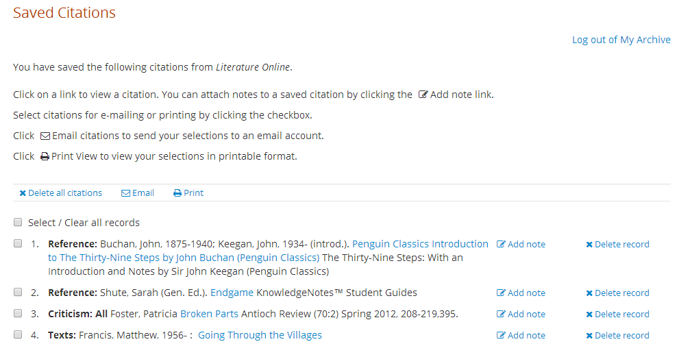 Picture of Saved Citations screen