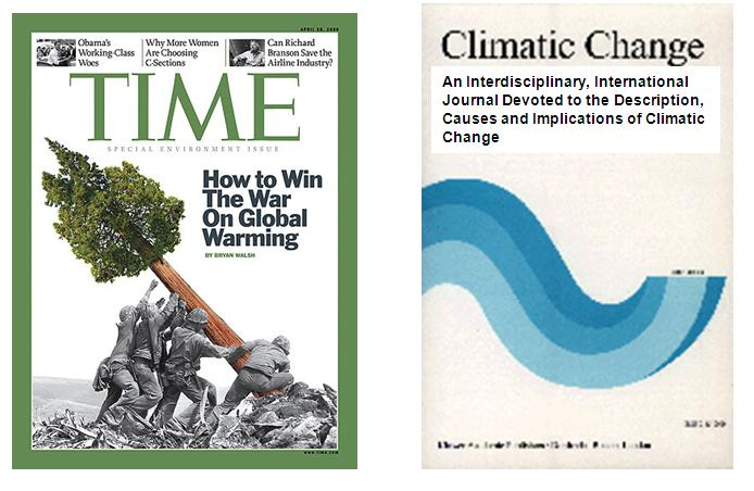 Time Magazine cover and Climatic Change cover