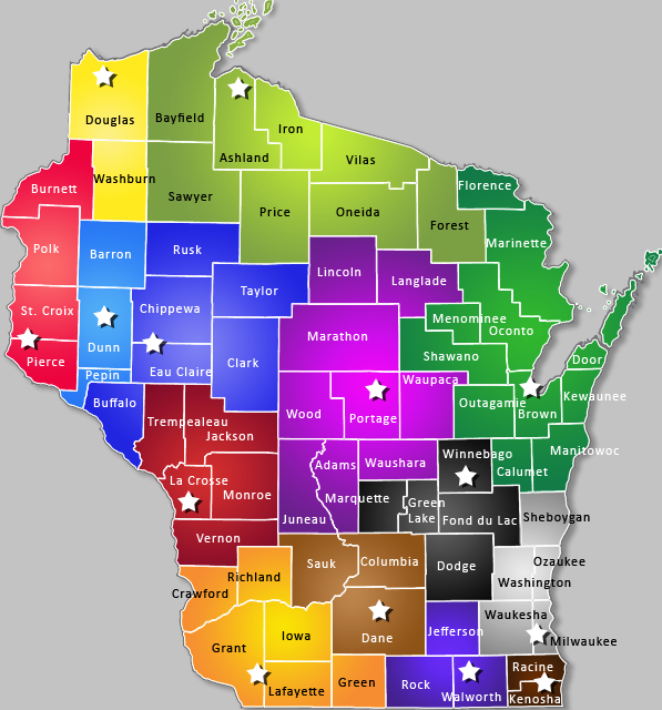Map of Area Research Centers in Wisconsin