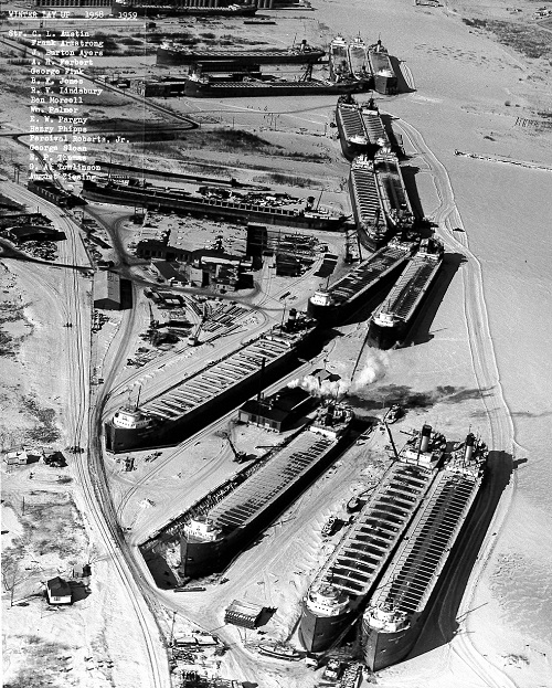 Winter layup at Fraser-Nelson Shipbuilding & Dry Dock Company, 1958-1959
