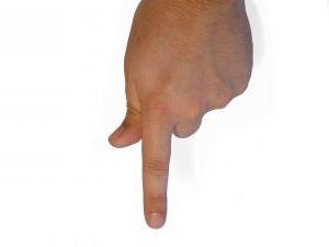 Finger pointing downward