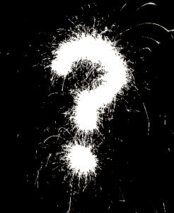 Spray-painted question mark
