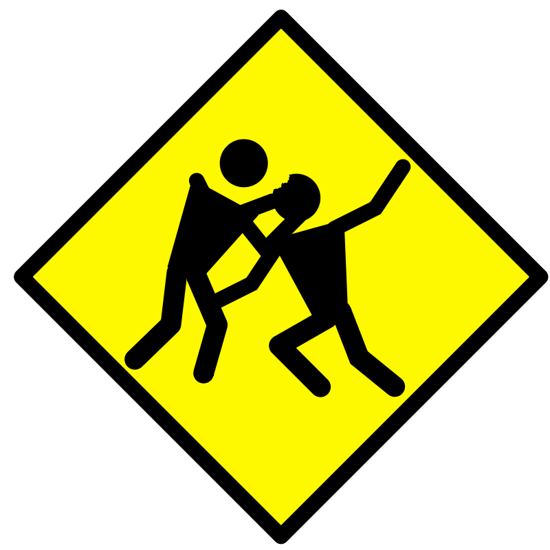 Warning road sign with stick figure zombie biting another stick figure's head