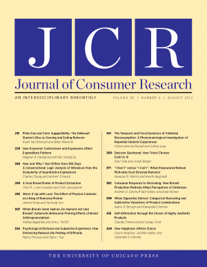Journal of Consumer Research cover