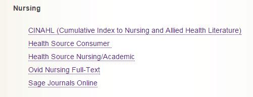 Nursing databases