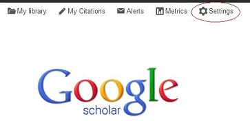 Settings on the Google Scholar homepage