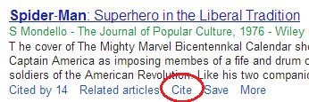 Finding the cite link