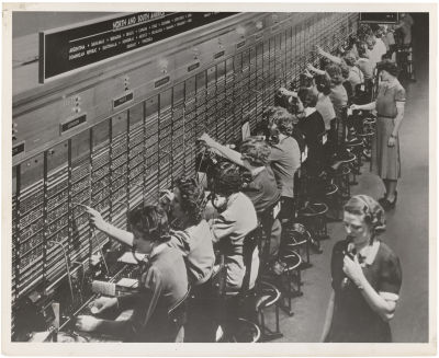 Operators at telephone switchboard