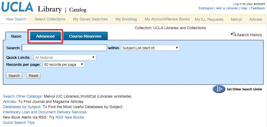 """A screenshot of the UCLA Library Catalog main search page with the """"Advanced"""" search tab highlighted in red."""