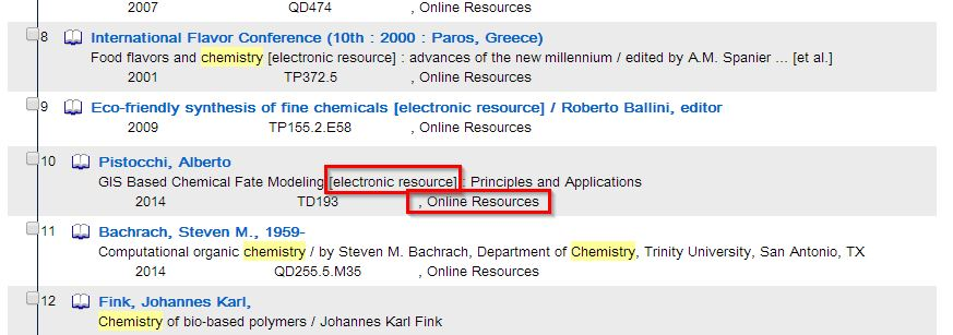 """A screenshot of the Search Results page with the fields """"electronic resource"""" and """"online resources"""" highlighted in red."""