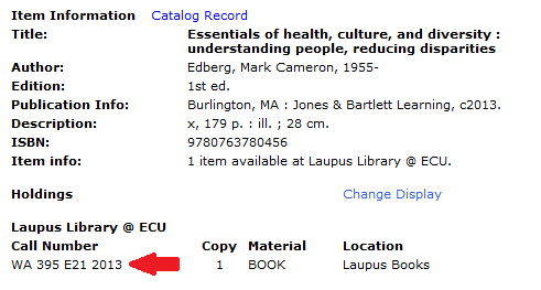 Image pointing to call number of book