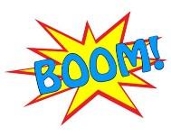 cartoon speech bubble of the word boom