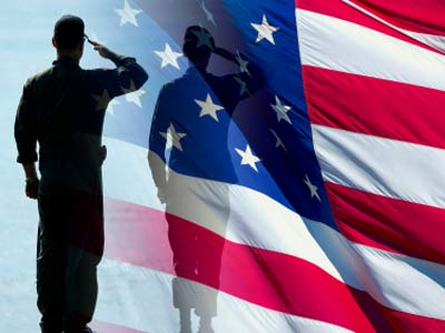 soldier and flag