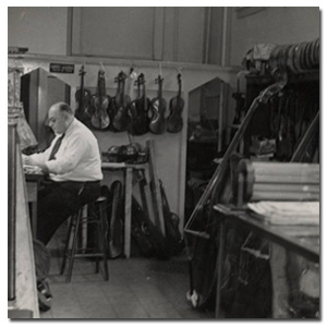 interior of a string instrument shop