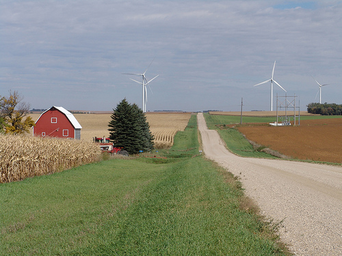 Farm with wind turbines usda.gov