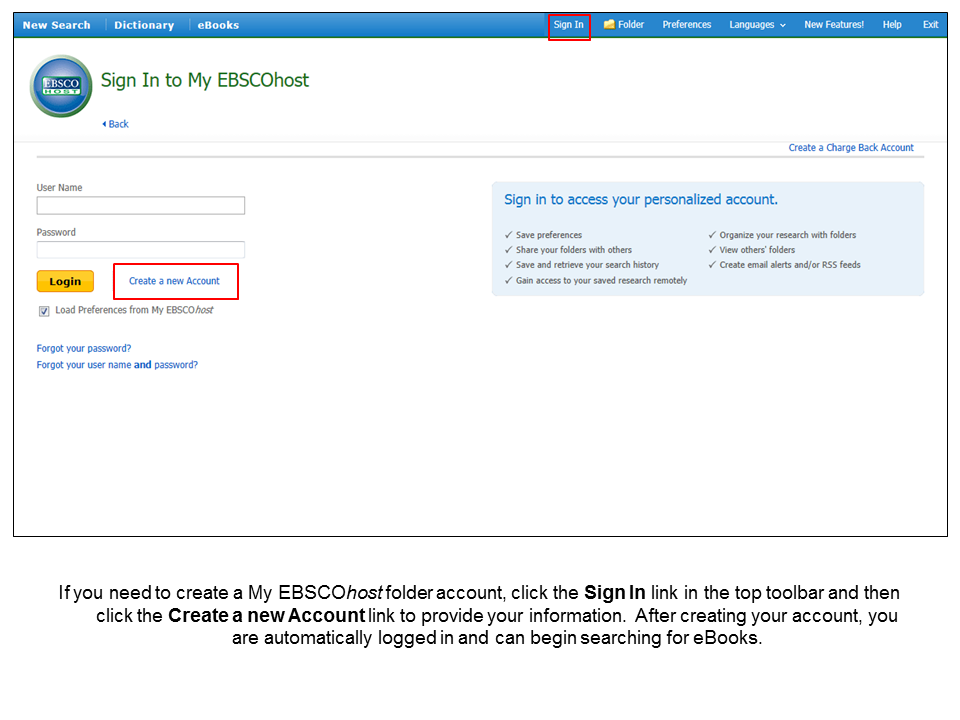 Step one, you need to make an EBSCO account and sign in...