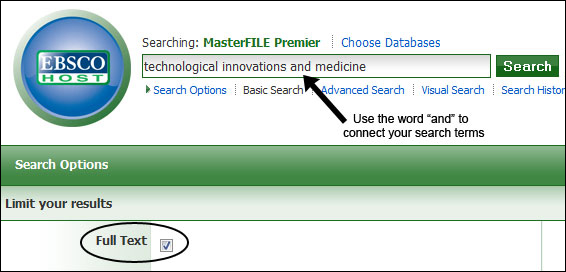 Image showing how to perform a basic search in MasterFILE Premier limiting it to full-text articles