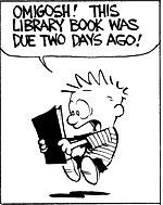 Calvin holding overdue library book