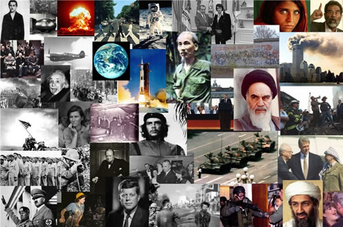 Montage of photos of influential people and historical events in 20th & 21st century