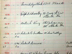 photo of Birmingham jail docket with signatures from Ralph D. Abernathy and Martin Luther King