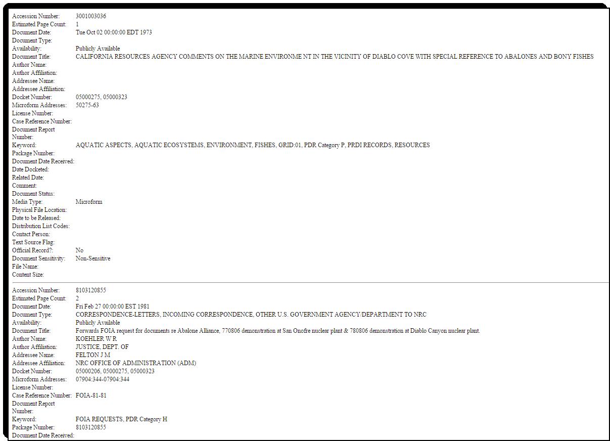 ADAMS report screen