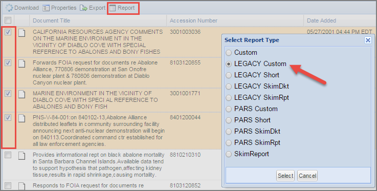 ADAMS report generation screen