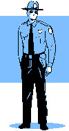 Enforcement officer with blue background