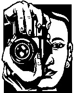 Woman holding camera up to her face