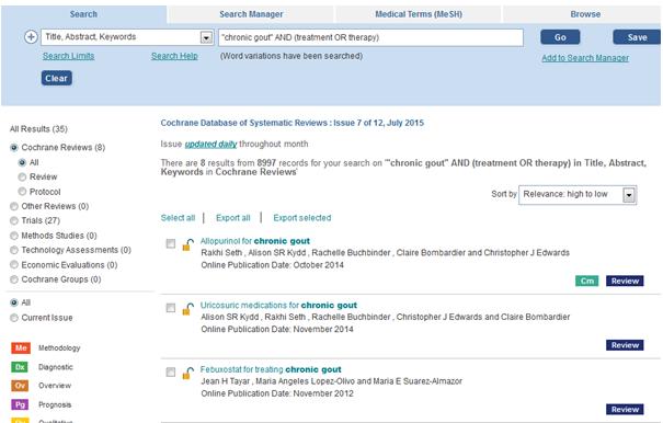 Cochrane library search screen