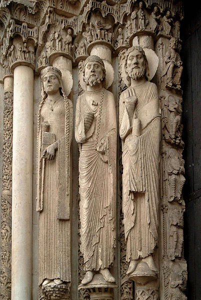 The Western (Royal) Portal at Chartres Cathedral, France (ca. 1145).