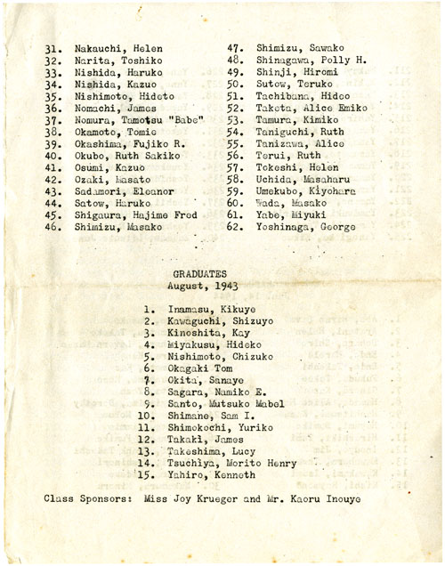 Part 7/7: Heart Mountain High School 2nd Annual Commencement Program, May 11, 1944