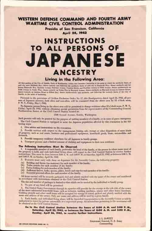 """""""Instructions to All Persons of Japanese Ancestry,"""" Wartime Civil Control Administration, April 24, 1942"""