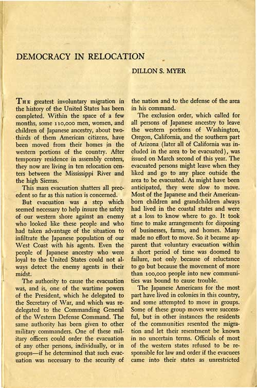 Page 1/6: Democracy in Relocation by Dillon S. Meyer, Reprinted Winter, 1943