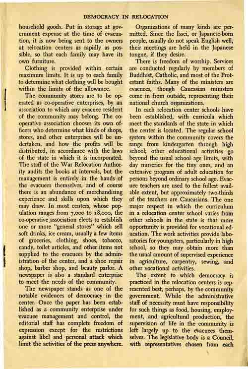 Page 3/6: Democracy in Relocation by Dillon S. Meyer, Reprinted Winter, 1943