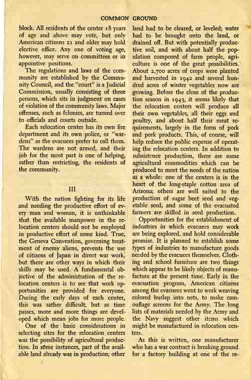 Page 4/6: Democracy in Relocation by Dillon S. Meyer, Reprinted Winter, 1943