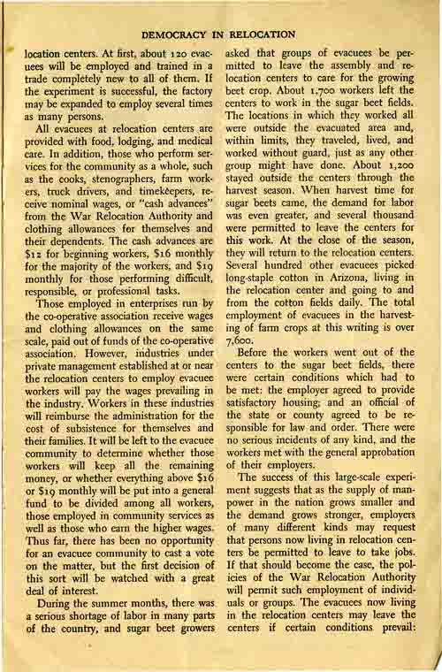 Page 5/6: Democracy in Relocation by Dillon S. Meyer, Reprinted Winter, 1943