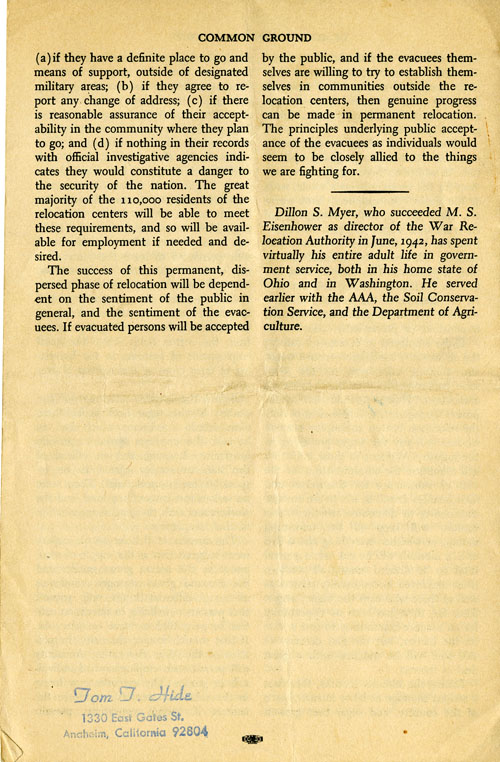 Page 6/6: Democracy in Relocation by Dillon S. Meyer, Reprinted Winter, 1943