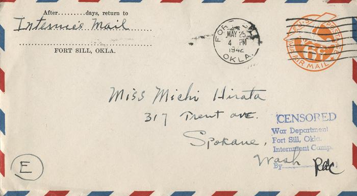 """Envelope from Kazuma Hirata to daughter """"Michi"""", May 25, 1942"""