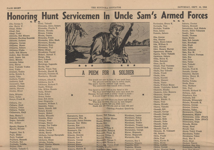 Part 1/2: Service Men in Armed Forces, Minidoka Irrigator, Septmber 16, 1944