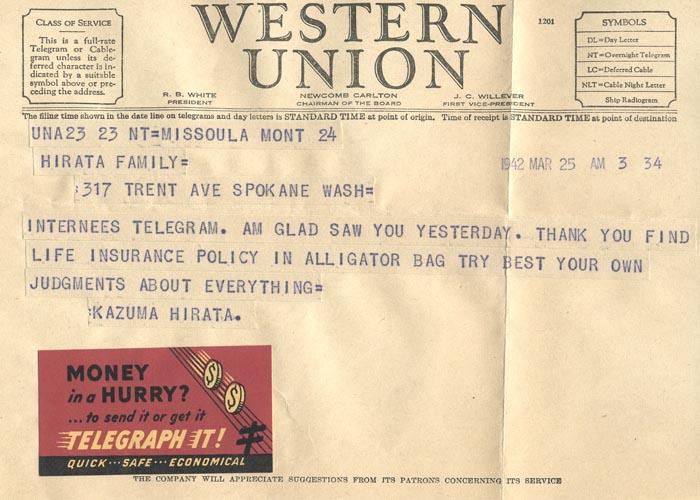 Telegram, March 25, 1942