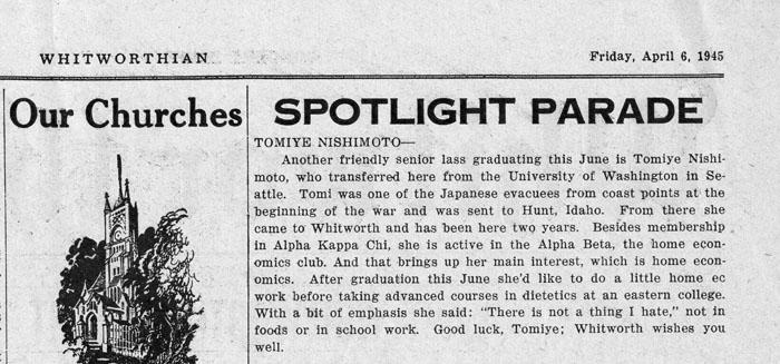 "Student Newspaper: ""Spotlight Parade: Tomiye Nishimoto"", Whitworthian, April 6, 1945"