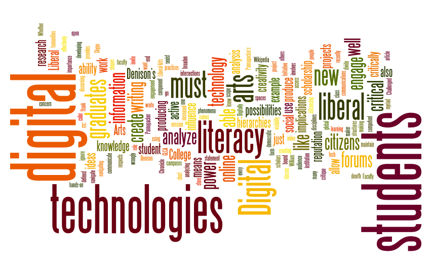word cloud including the terms that students use to talk about the library including digital, technologies, literacy, students, and liberal arts