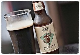 Bottle and glass of Bell's Porter